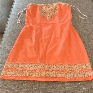 Coral and gold boutique dress